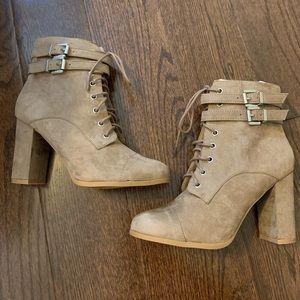 Madden Girl Tan Suede Combat Boots with Heel